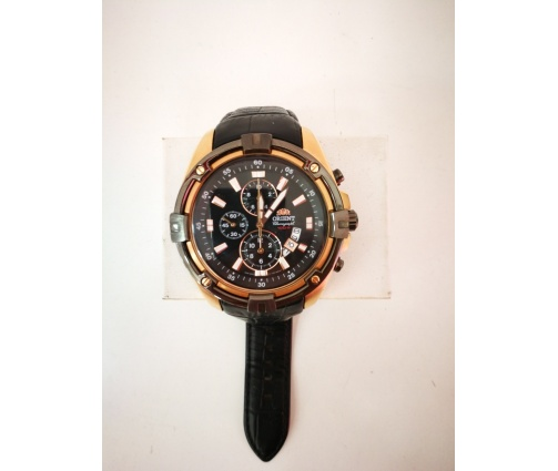 1-1-150302-1-RELOJ DE CABALLERO ORIENT ROSE GOLD BLACK LEATHER 100M CHRONOGRAPH WATCH FTT0Y004B0